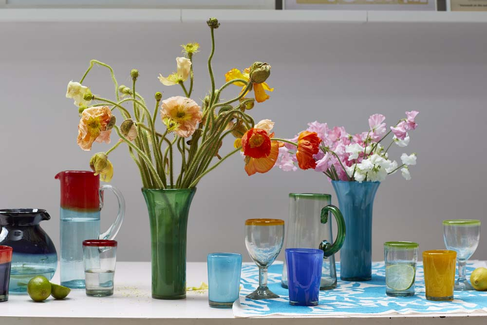 Milagros recycled glassware hand made in Mexico
