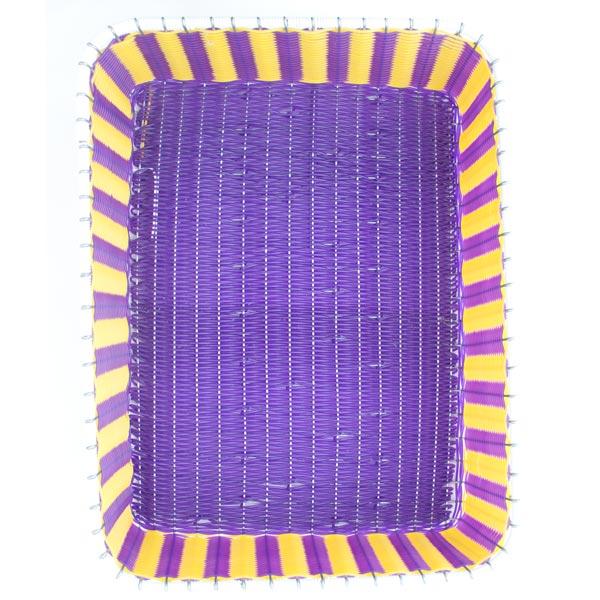 yellow and purple storage basket