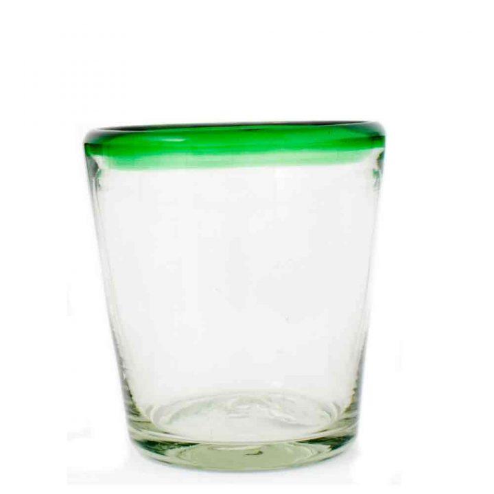 clear with a green rim roca tumbler