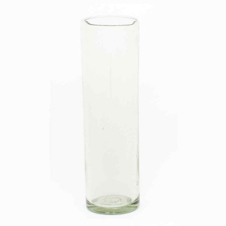 recycled clear vase 8 x 25cm