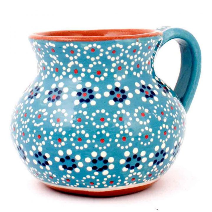 turquoise blue pottery Mexican mug