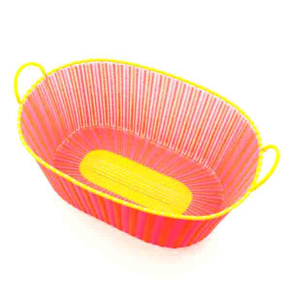 pink with yellow ironing basket