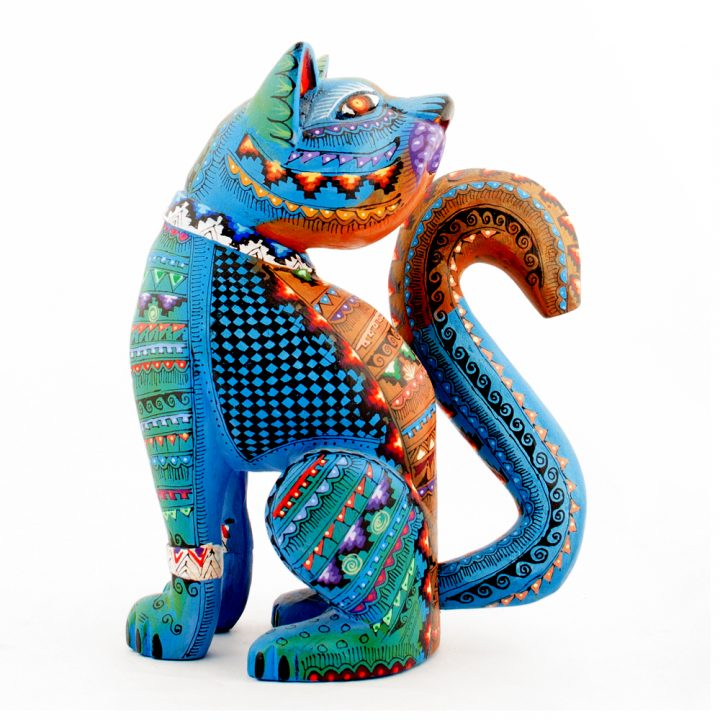 Mexican wood carving cat