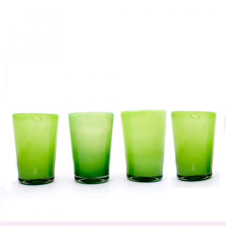 Milky green hand made glass tumblers