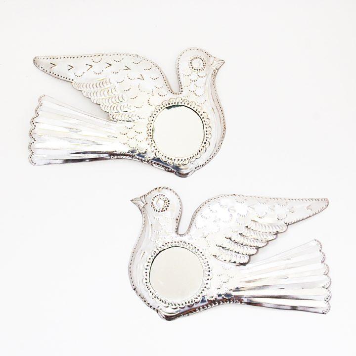 Tin mirror doves hand made in Mexico