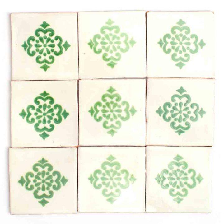 Anita green hand made wall tiles.