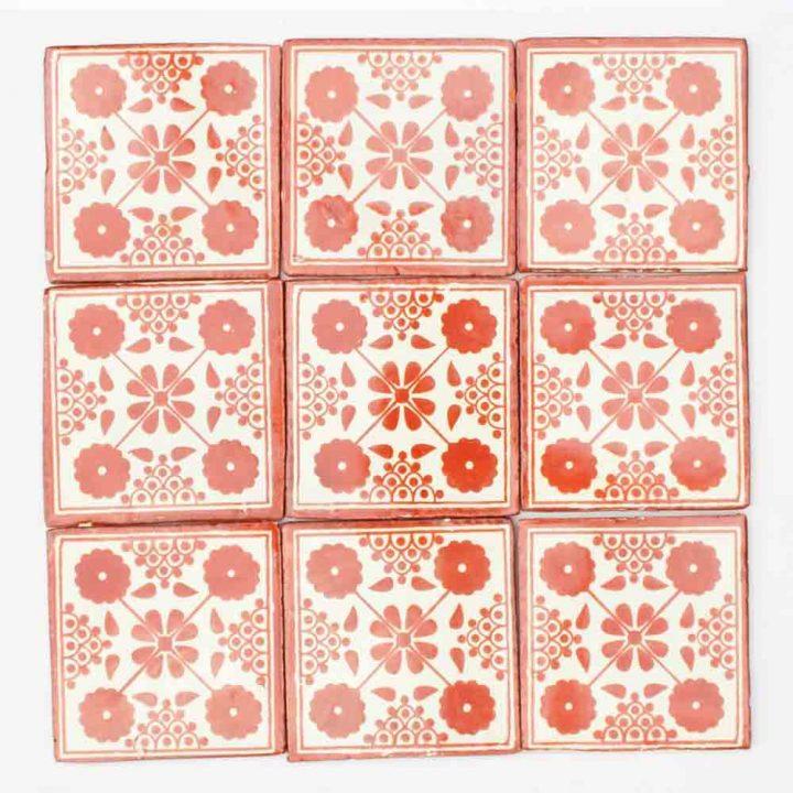 Damask hand made wall tiles