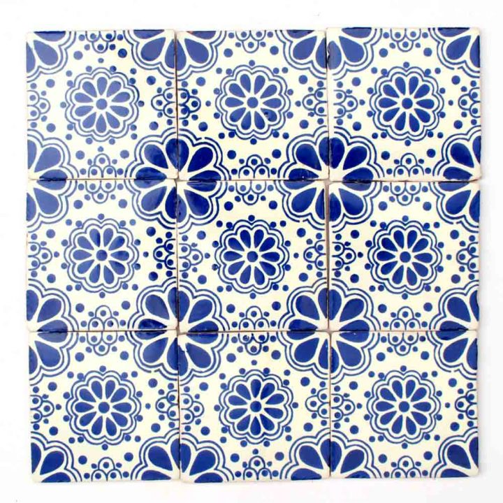 Lace blue hand made tile