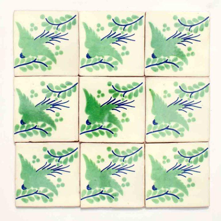 Paloma green hand made wall tiles
