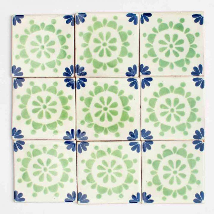Rocio blue and green hand made tiles