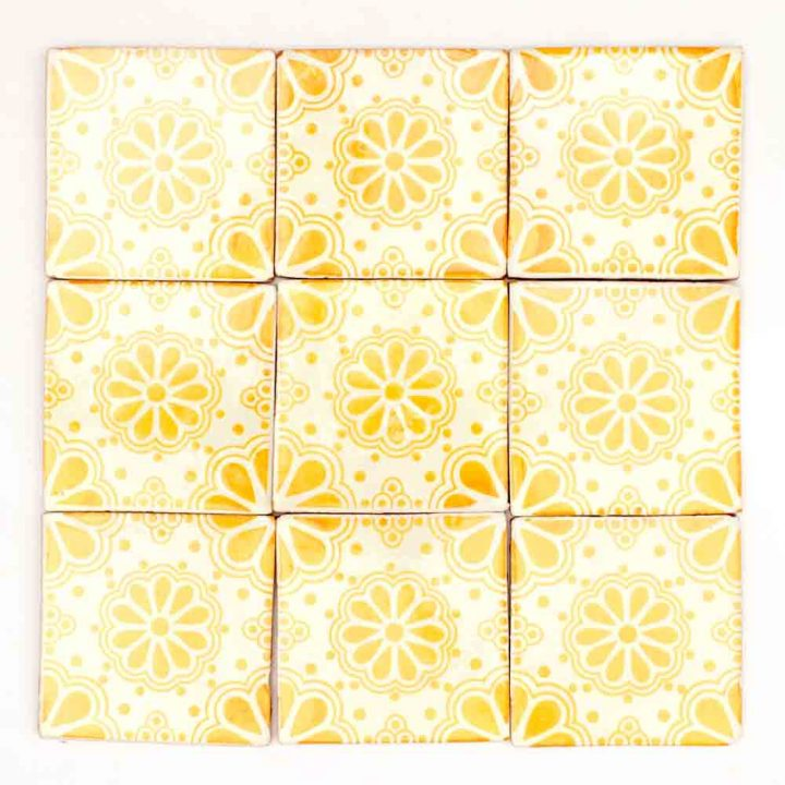 yellow patterned hand made tiles