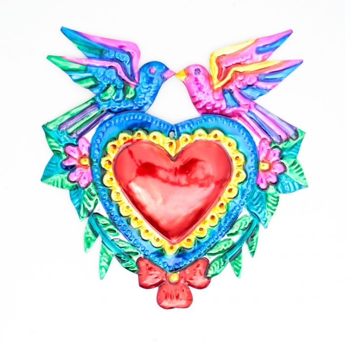 red heart with doves