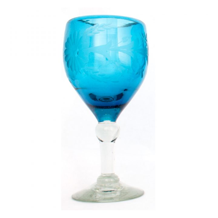 turquoise engraved wine glass