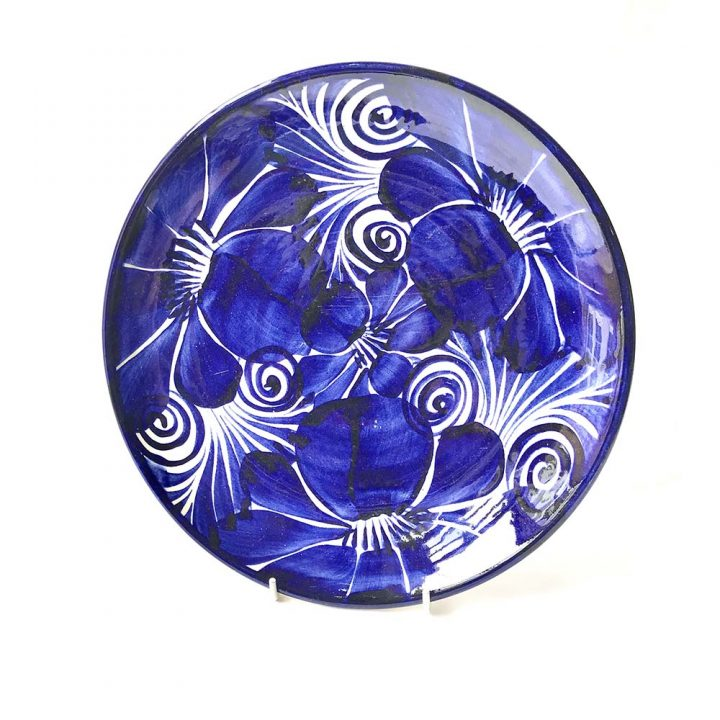 small Dolores blue flower plate Mexican pottery