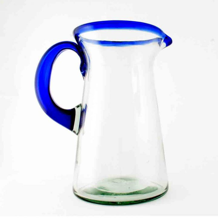 clear with a blue rim lechero jug