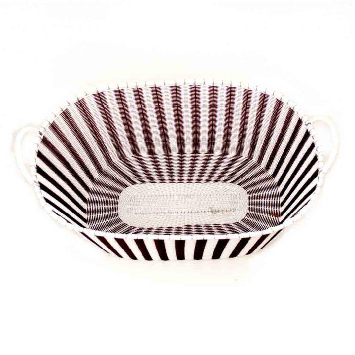 white and aubergine ironing baskets