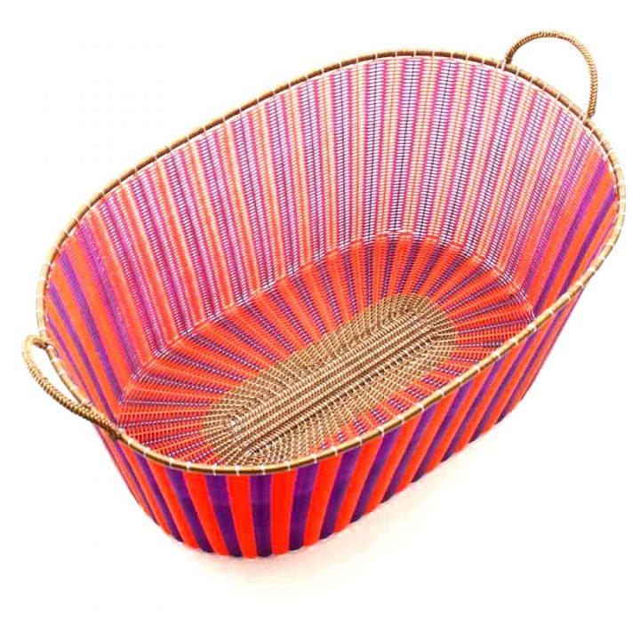purple and orange ironing basket