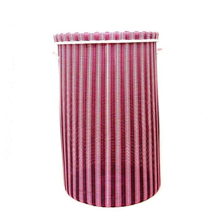 pink and aubergine large laundry basket
