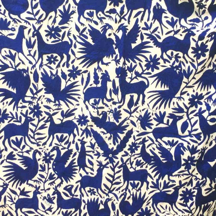 blue textile embroidery
