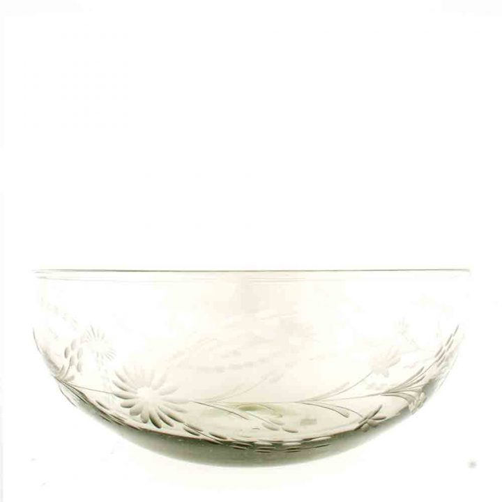 engraved recycled glass bowl