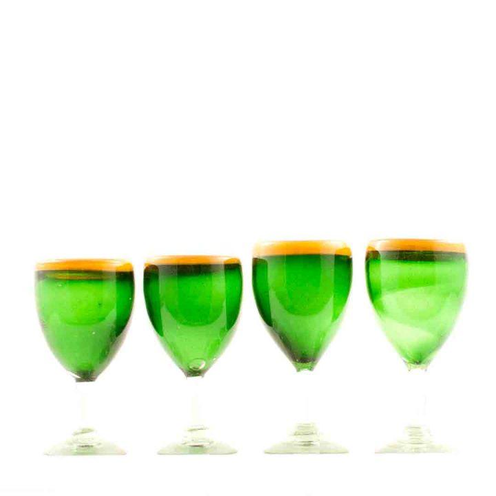 green and orange wine glass