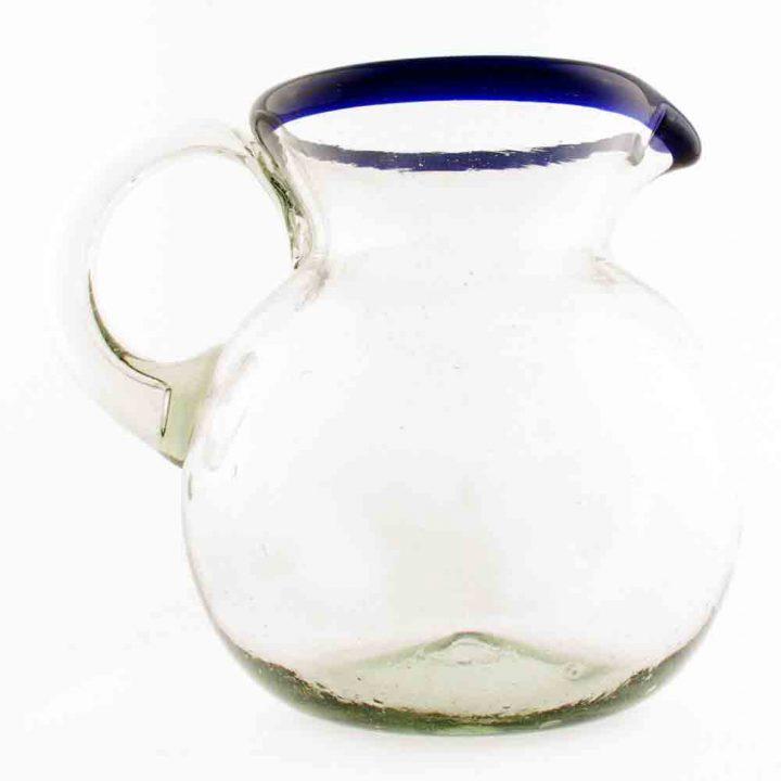 clear blue rim round jug