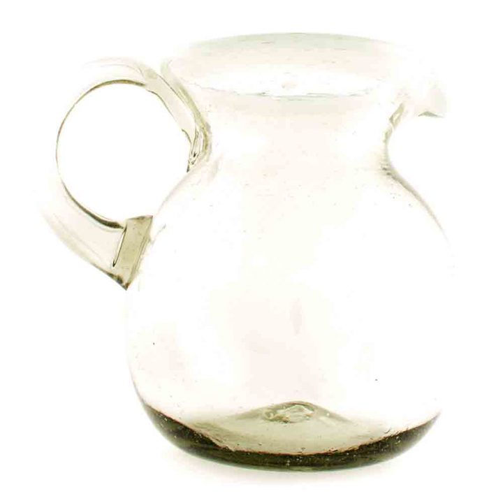 clear with a white rim round jug