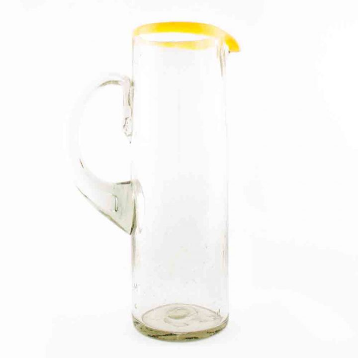 clear with a yellow rim straight jug