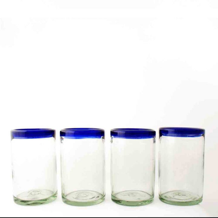 clear with a blue rim tumblers