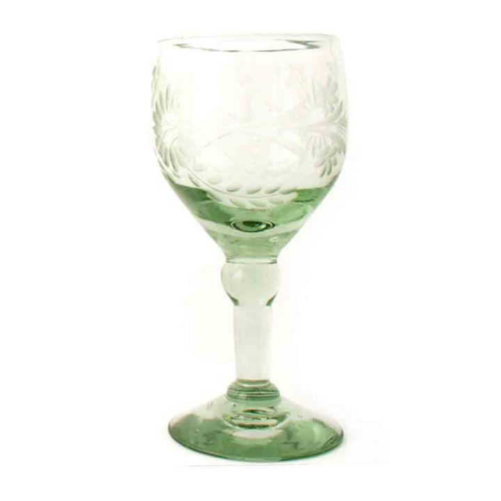 clear engraved wineglass