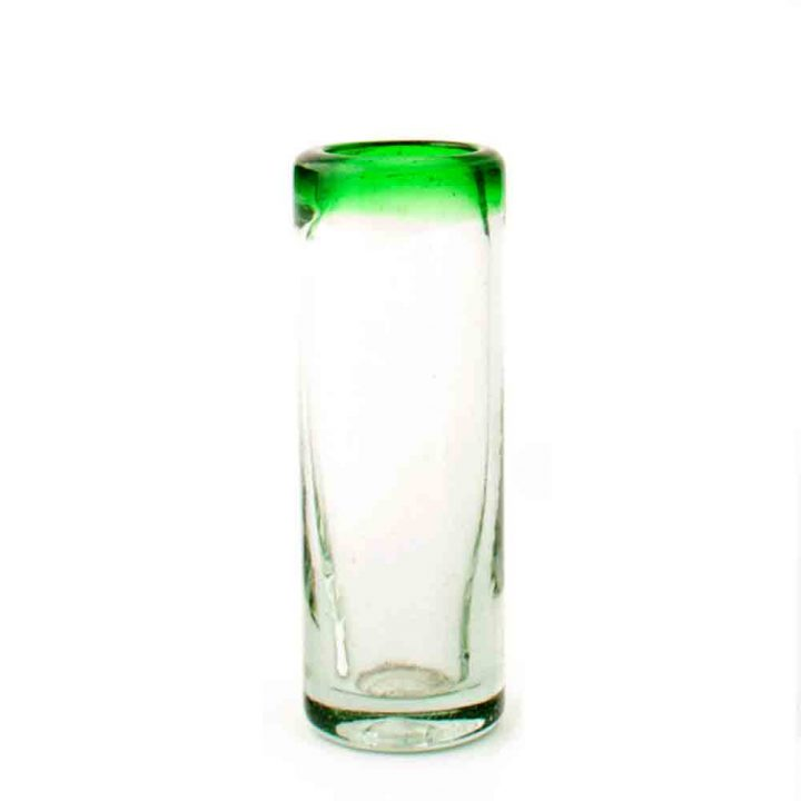 clear with a green rim tequila glass