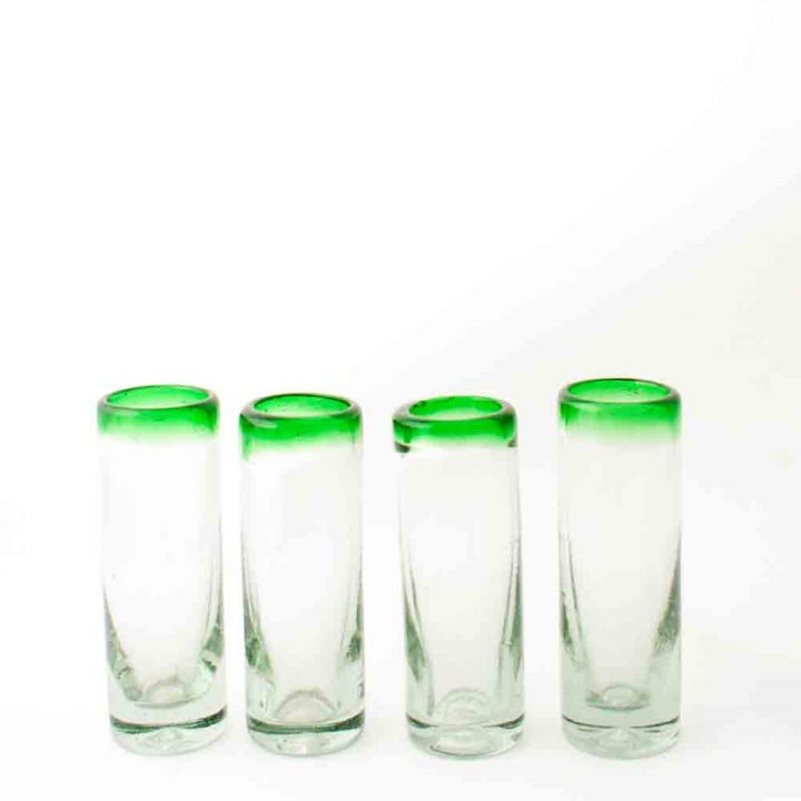 clear with green rim tequila glass