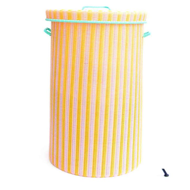 large laudry basket in pink and yellow