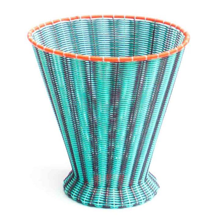 aubergine and pistachio waste paper basket